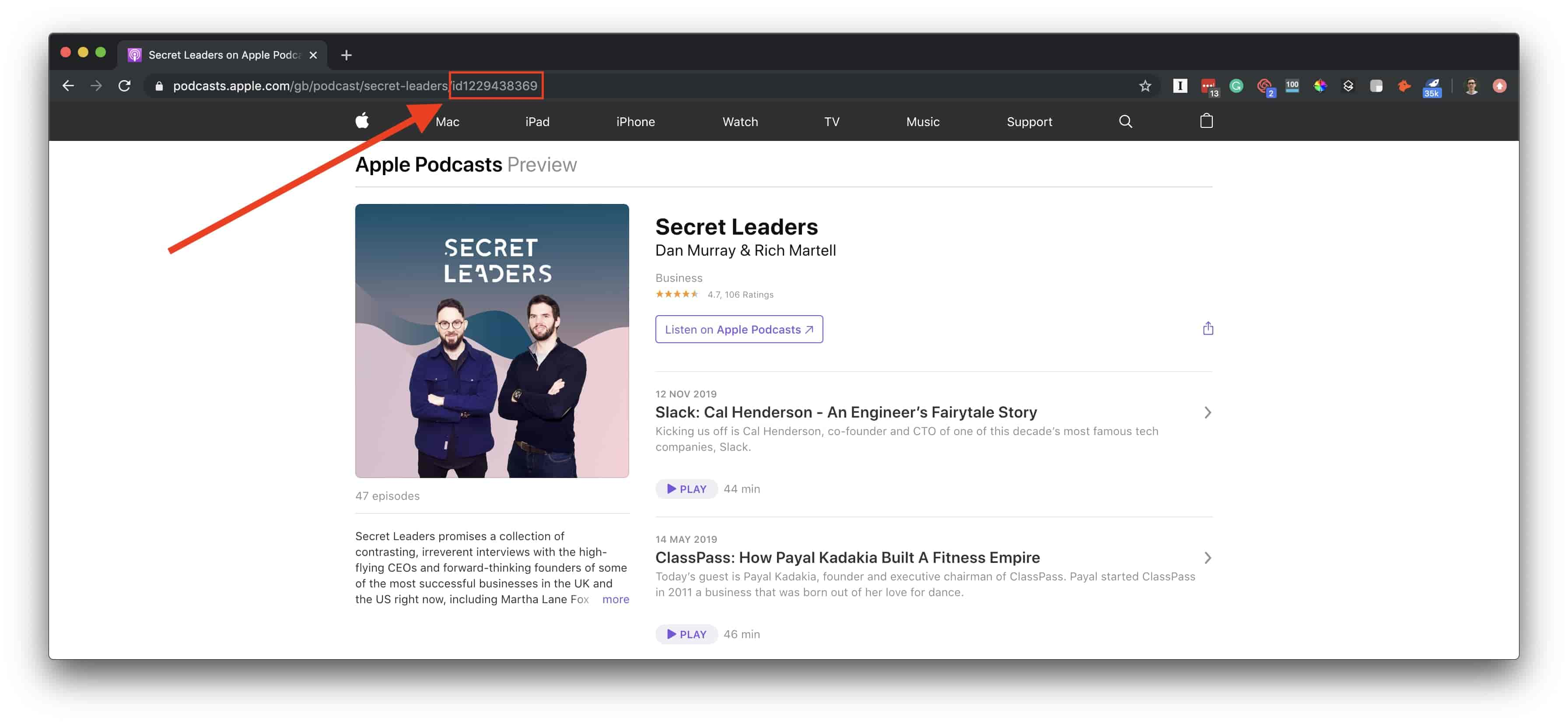 How to find your Apple Podcasts id